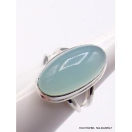 Bague Calcédoine bleue ovale 2 anneaux Taille 59 Bagues pierres naturelles XV56.10
