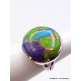 Bague ronde en Turquoise Mohave tricolore T 58 Bijoux en Turquoise XV52.5