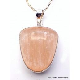 Pendentif Sélénite orange semi-oval Pendentifs pierres naturelles XV25.2