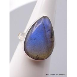 Bague Labradorite bleue forme goutte Taille 59 Bagues pierres naturelles XV54.8