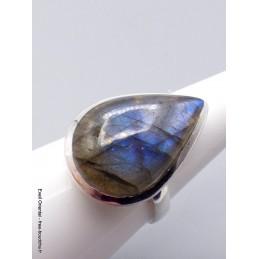 Bague Labradorite bleu profond forme goutte Taille ajustable Bagues pierres naturelles XV54.9