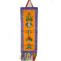 Tenture tibétaine 5 symboles bouddhistes safran et bleu TENCS4.1