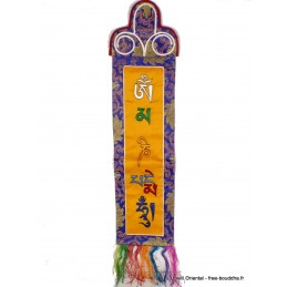 Tenture tibétaine bannière mantra de Chenrezi safran MCHEN1