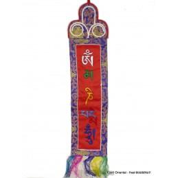 Tenture tibétaine bannière mantra de Chenrezi rouge Tentures tibétaines Bouddha MCHEN2
