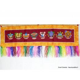 Tenture tibétaine dessus de porte Signes Auspicieux bordeau TSA7