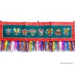 Tenture tibétaine murale verte 8 signes auspicieux TSA2