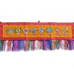 Tenture tibétaine dessus de porte Signes auspicieux TSA1