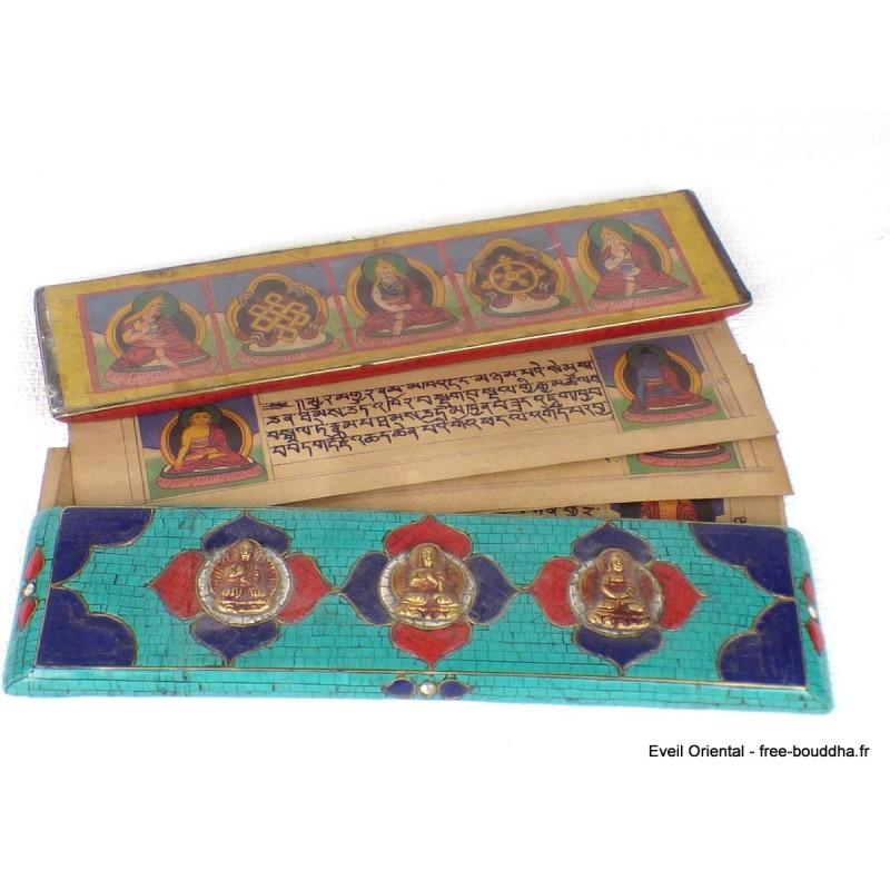 Livre de prières bouddhiste, livre de moine en turquoise ref 3794.5