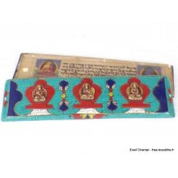 Livre de prières bouddhiste, livre de moine 3 Bouddhas ref 3794.6