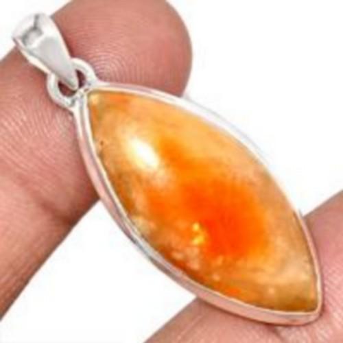 bijoux-pendentif-calcite-orange